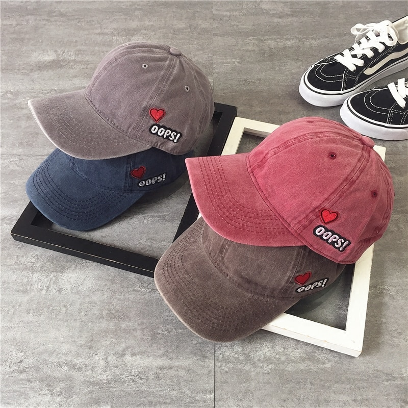 Korean Washed-out Distressed Peaked Cap Men's Love Embroidered Vintage Baseball Cap Women's Summer H