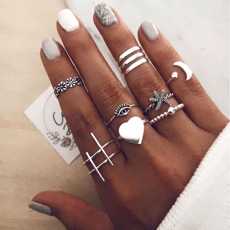 Tocona 10 unids/set anillos de boda con corazón grandes para Mujeres Hombres Bohemia Luna estrella de mar ojos geométricos Anillo de articulación regalo Anillo 14560
