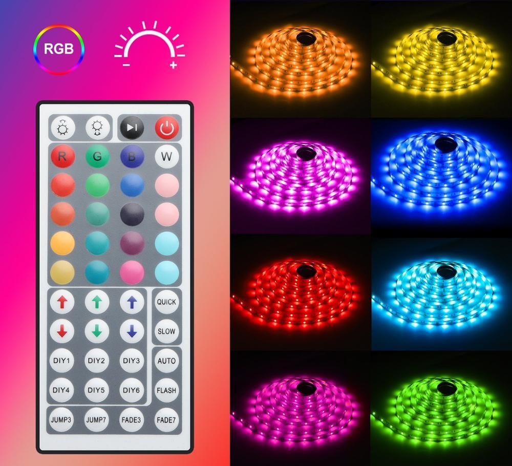 Tira de luz LED impermeable 32.8ft RGB SMD 5050 cuerda de iluminación LED cambio de Color Kit completo con control remoto IR de 44 teclas