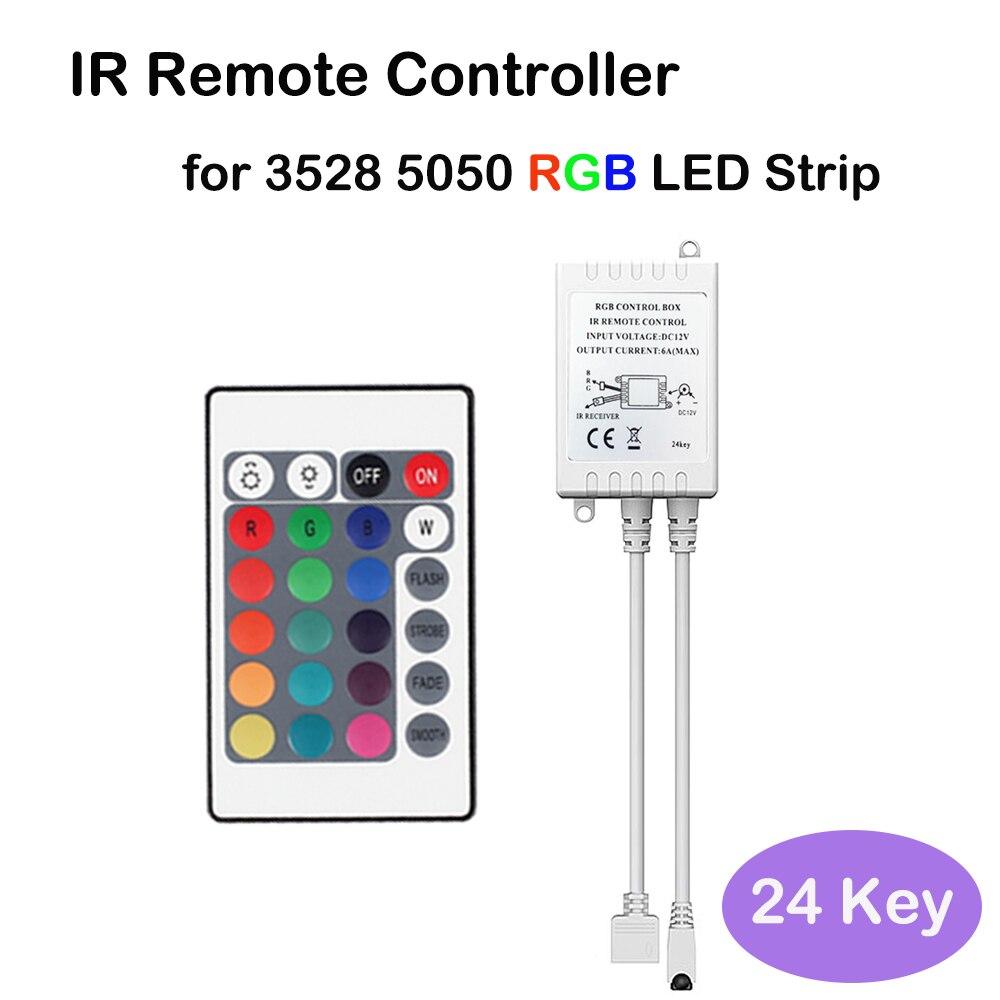 Control remoto IR de tira LED de 12V y 24 teclas con Caja del controlador para tira de luces de 3528 led rgb smd 5050