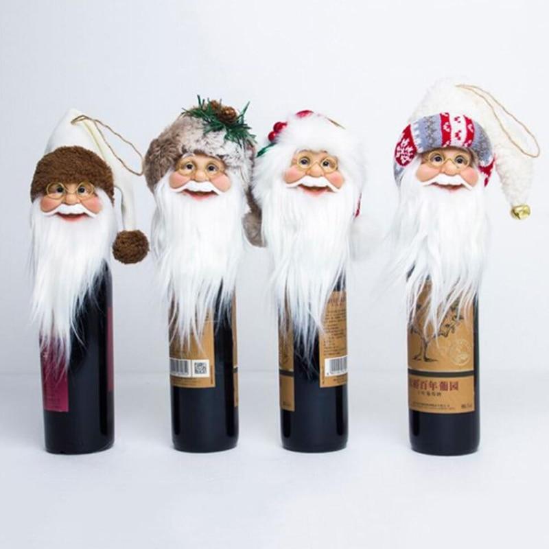 Papá Noel, tapón de botella de vino tinto, decoración de parte superior del árbol de Navidad para el hogar, colgante, cabeza de Santa, ornamento de Navidad
