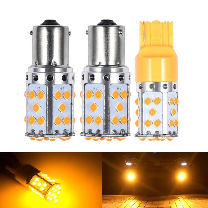 2Pcs T20 7440 WY21W Led Bulb 1156 BAU15S PY21W BA15S P21W LED Lamp For Car Turn Signal Lights Orange Amber Color 6000K White