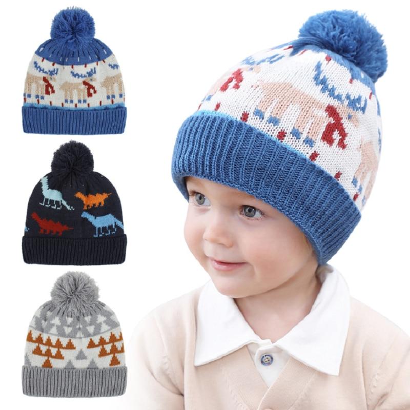 Детская вязаная шапка с помпоном, детская зимняя шапка, детская Шапка-бини с помпоном, теплая шапка для мальчиков и девочек 1-4 лет, H235