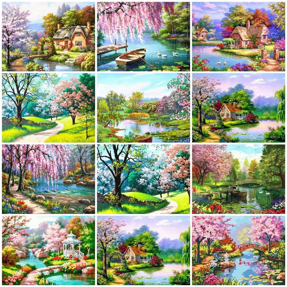 Pintura AZQSD por números, pintura de naturaleza por números, paisaje, pintura a mano, lienzo DIY, pintura al óleo acrílica sin marco, decoración del hogar