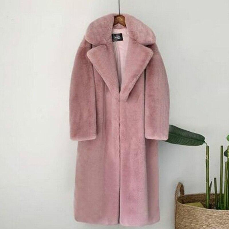 Новинка 2021, Женское зимнее теплое пальто из искусственного меха, плотное женское длинное пальто, женское теплое пальто с отложным воротнико...