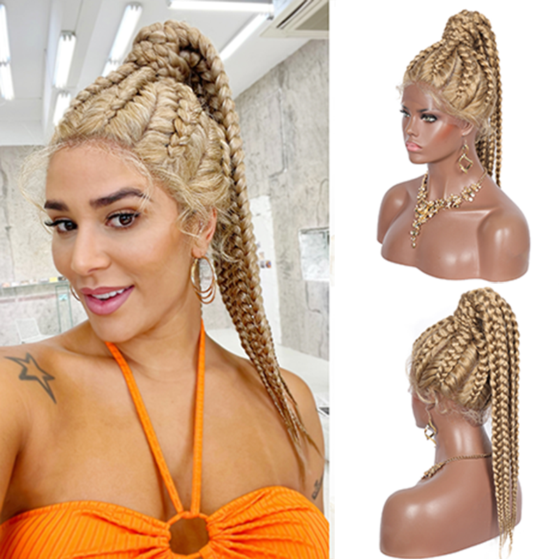 Kalyss 613 Box Braids Lace Front Wigs Synthetic Cornrow Braids Ponytails with Baby Hairs Braided Lace Front Wigs for Black Women