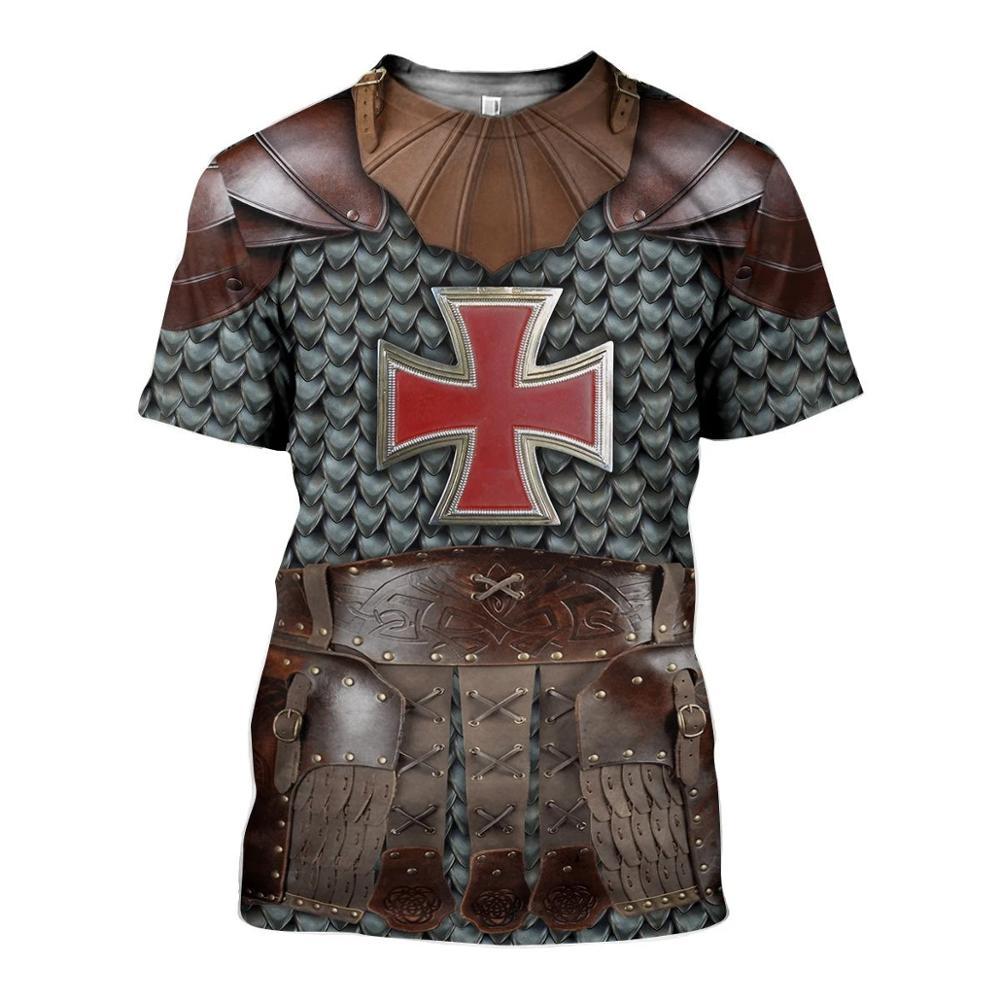 PLstar Cosmos Samurai armor Knights Templar 3d Print t shirts tshirt tees summer party funny Harajuku short sleeve streetwear-21