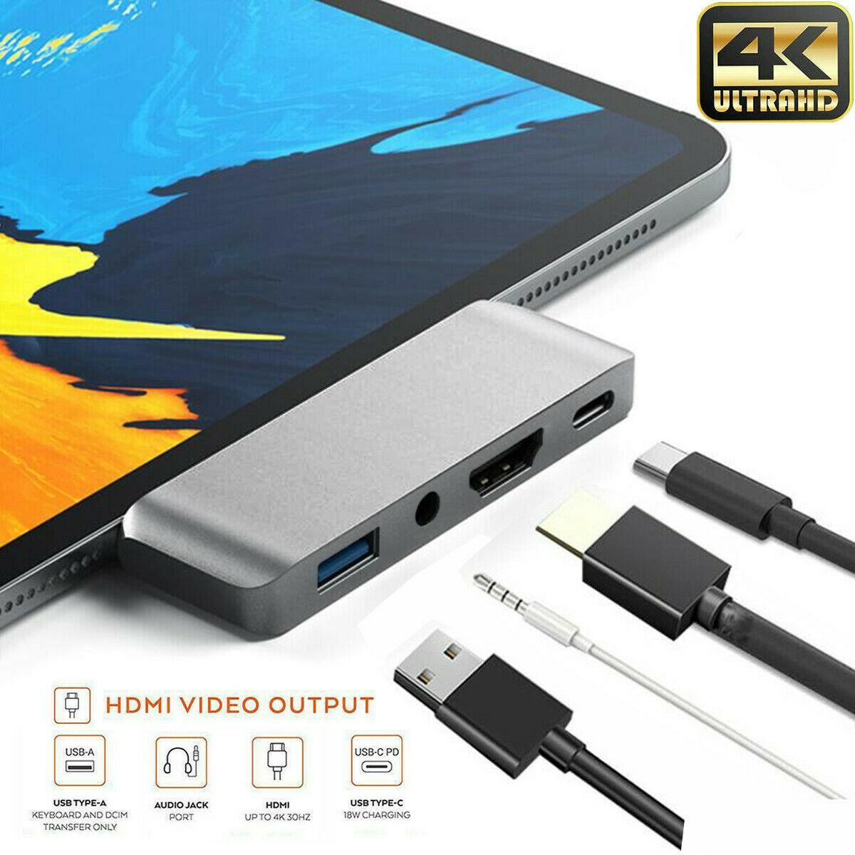 UGI 4IN1 نوع C USB HUB عالية السرعة الخارجية 4 منافذ محول تيار مستمر 3.5 إخراج الصوت الخائن USB الكمبيوتر لأجهزة الكمبيوتر المحمول ماك بوك USB3.0