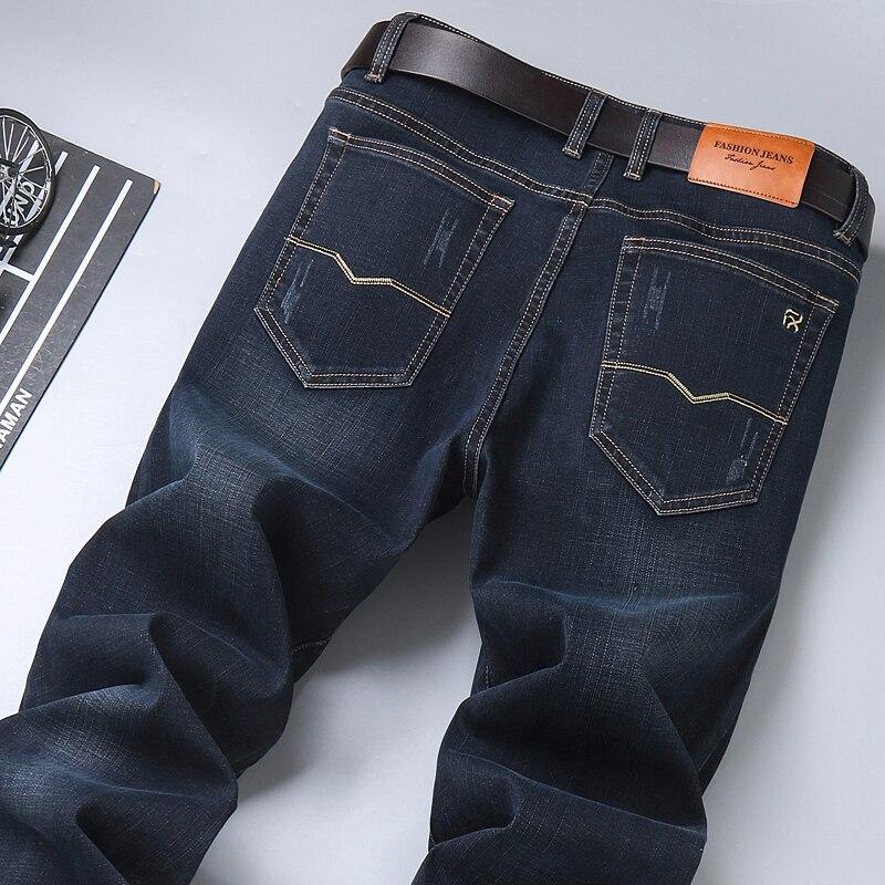 2021 Spring New Men's Classic Blue Black Slim-fit Jeans Business Cotton Elastic Regular Fit Denim Pants Male Brand Trousers