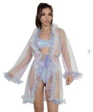 Lencería Sexy de encaje, bata de noche para mujer, Kimono transparente, camisón, vestido de malla, manga larga, picardías de piel, ropa para dormir, camisón
