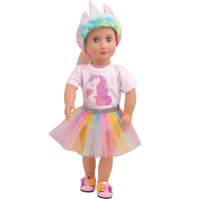 18 polegada meninas roupas de boneca unicórnio colorido conjunto artesanal gaze saia americano vestido recém-nascido brinquedos do bebê caber 43 cm boneca do bebê c821