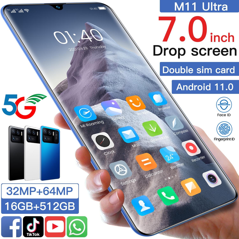 Hot Sale XIAOM11 Ultra 7.0 Inch Full Screen Dual SIM+Micro SD MTK6889 Deca Core 5G Smartphone 16+512GB 32+64MP Face ID Cellphone