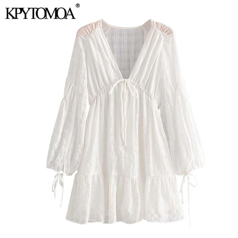 KPYTOMOA mujeres 2020 moda elegante ver a través de plisado Mini vestido Vintage de manga larga cordón atado Vestidos femeninos Vestidos