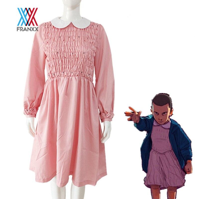 Roupa de Cosplay Jeans de Menina Moletom com Capuz Stranger Things Temporada Fantasia Vestido Onze Rosa Saia Plissada Jaqueta Menino 3
