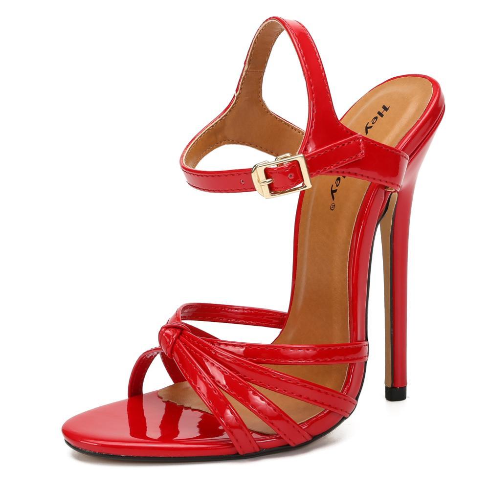 Crossdresser novo estilo tornozelo cinta sandálias 14cm fina de salto alto fivela sapatos mulher bombas de casamento mais 37-47 48 sandália feminino