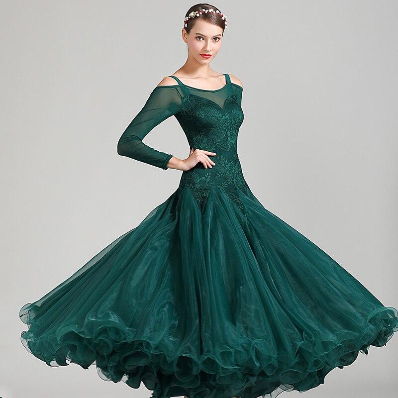 مثير القياسية أثواب رقص قاعة الرقص فستان اسحب الملكة الهذيان الملابس قاعة الرقص فساتين المنافسة أداء ارتداء DQS3734