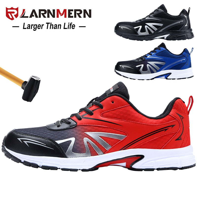 LARNMERN الرجال الصلب اصبع القدم سلامة العمل أحذية خفيفة الوزن تنفس مكافحة تحطيم غير زلة البناء الأحذية الواقية