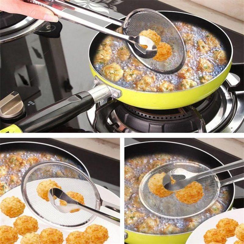 1 Uds. Cuchara con filtro y pinza antiadherente multifuncional para alimentos, ensalada de aceite para freír, fácil de limpiar filtro BBQ 28x10cm