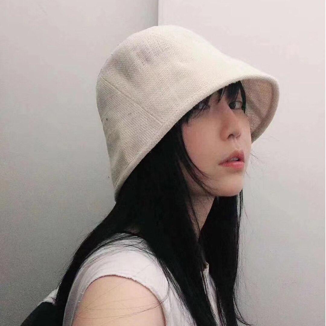 Bonito sombrero de pescador Simple de lino para chica sombrero protector solar sombrero Popular de viaje de alta calidad de Japón y Corea del Sur