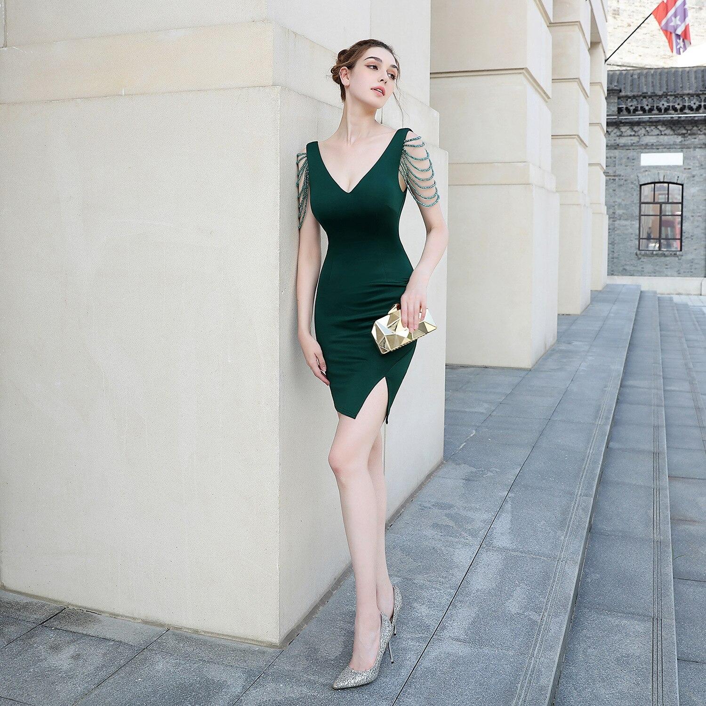Beauty-Emily-فستان سهرة قصير مطرز بالخرز ، مثير ، فستان كوكتيل ، فستان سهرة ، ثوب حفلة ، 2020
