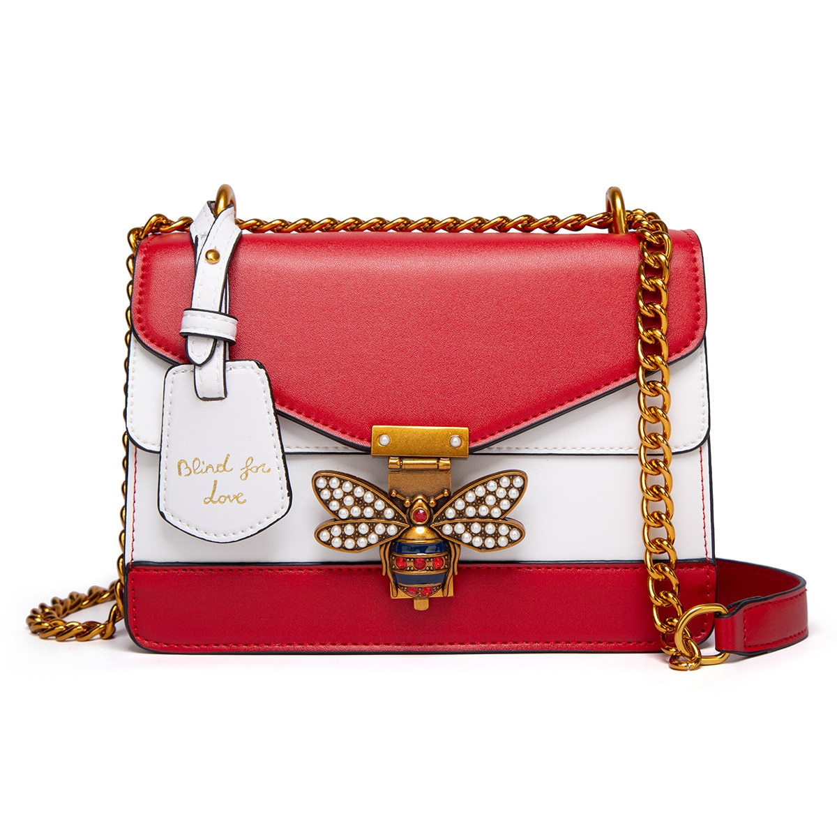 2021 Contrast Color Bags Bees Lock Buckle Small Square Bag Trendy One-Shoulder Crossbody Small Bag Simple Matching Bag for Girl