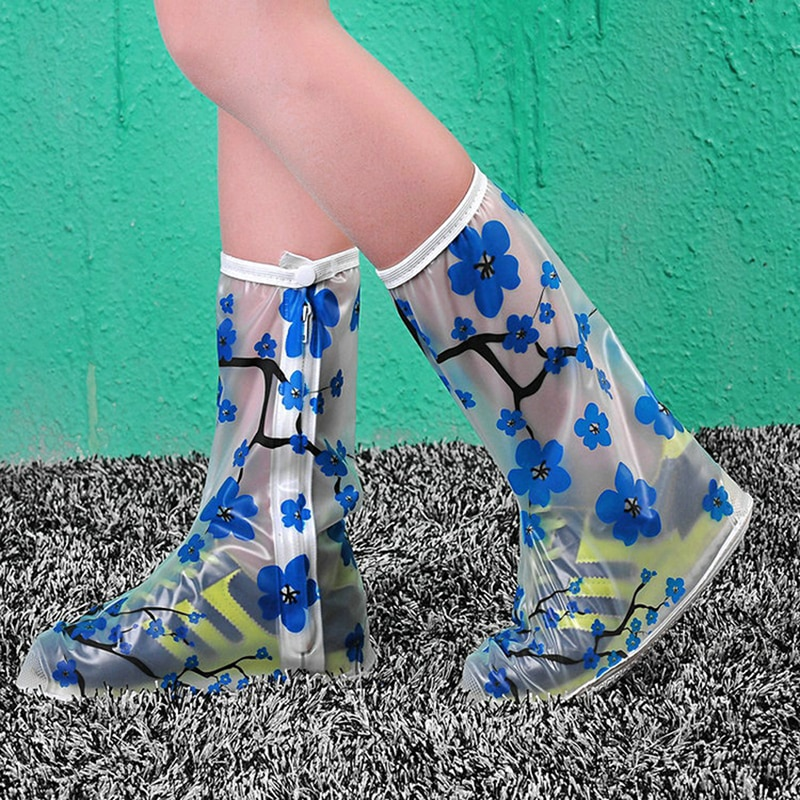 Botas impermeables antideslizantes de PVC con flores azules, gruesas para mujeres/niñas/niños, cubiertas reutilizables para zapatos, cubierta protectora de lluvia para zapatos