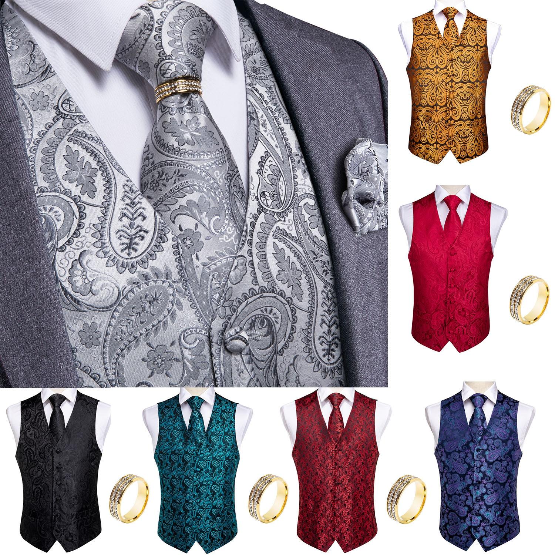 Мужской жилет с галстуком, классический свадебный смокинг с Пейсли черного и золотого цвета, деловой жилет, мужской жилет, жилет, Homme DiBanGu
