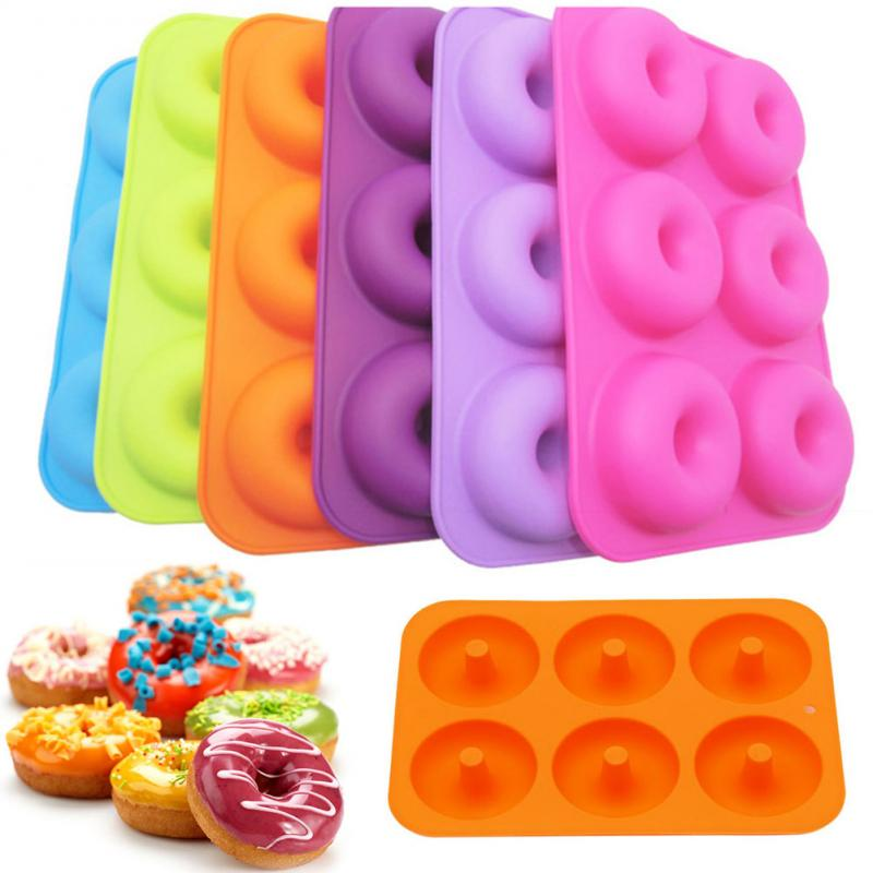 6 agujeros rosquilla de silicona molde antiadherente Donut decoración herramientas para hornear bandeja para hornear galleta Bagel máquina de muffins