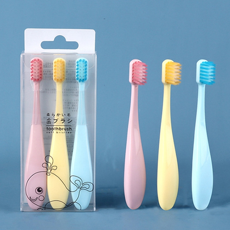 Cepillo de dientes de cerdas suaves para niños Macaron súper fino pelo suave Dental Cuidado de limpieza 2-6 años cepillo de dientes bebé Set 3 unids/set