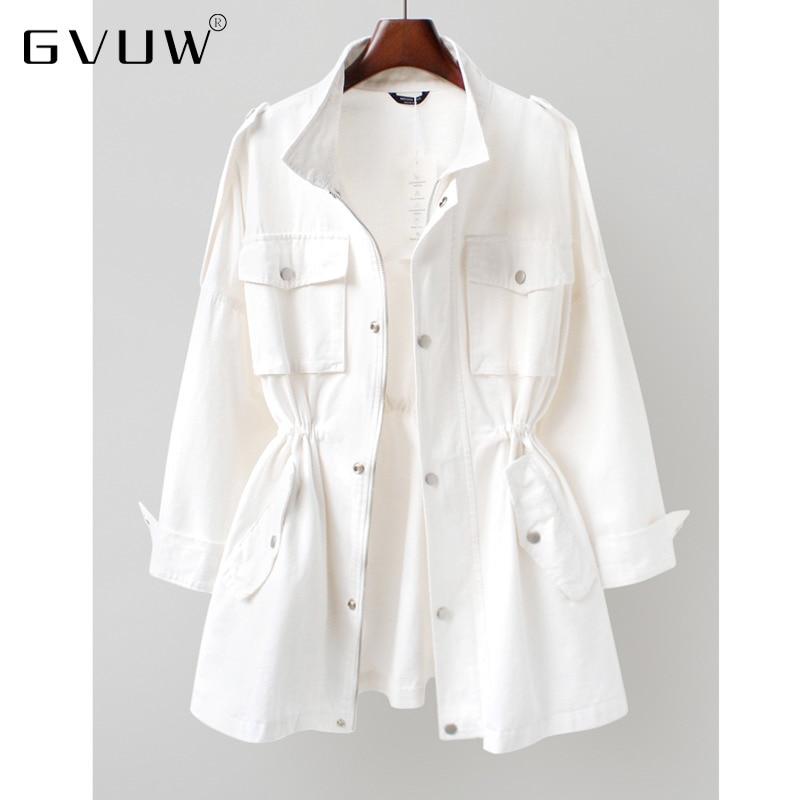 GVUW خريف 2021 الكورية الجديدة الخصر إغلاق ملابس العمل سترة واقية المرأة فضفاضة متوسطة وطويلة الخريف معطف صغير ZH012
