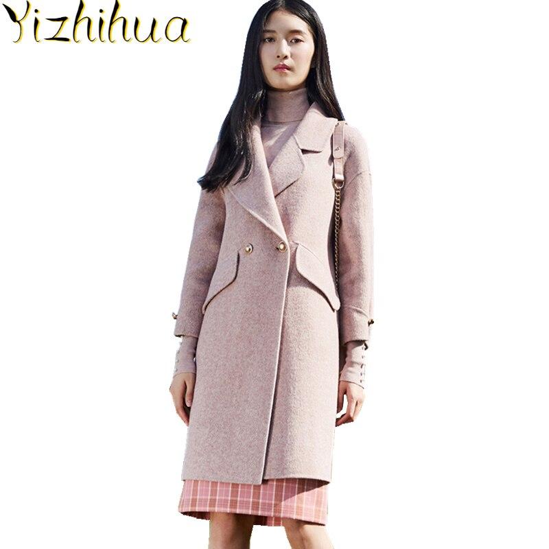 Abrigo largo de lana de Alpaca para mujer, chaqueta de cuello vuelto,...