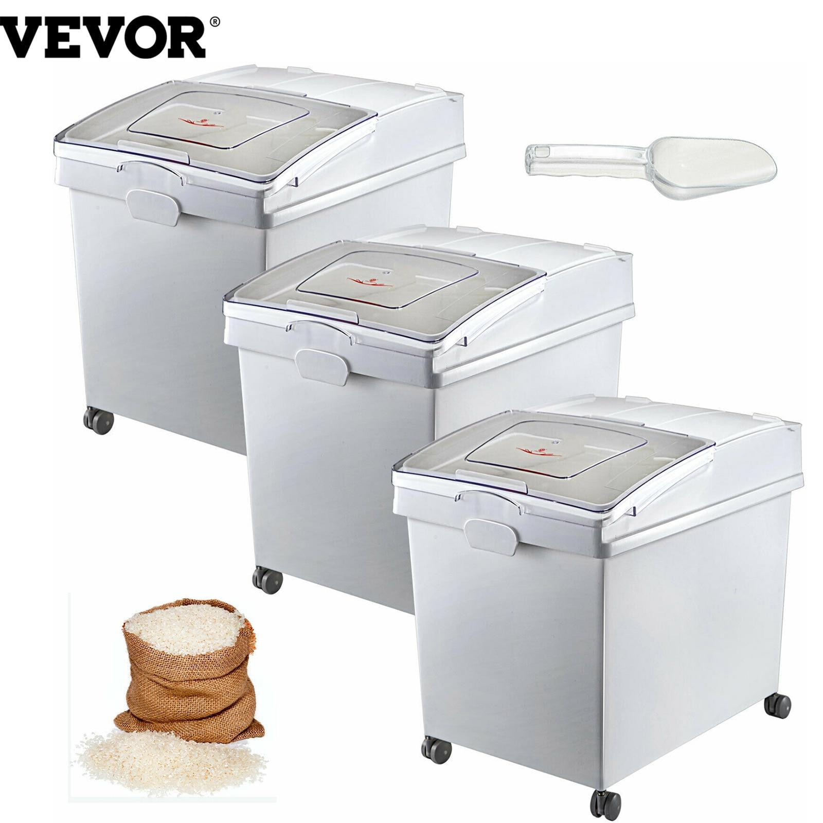 VEVOR صندوق تخزين المكونات الجافة مع مغرفة المذرة موثوقة الغبار صحي دقيق فول الصويا مطعم المطبخ التجاري المنزل