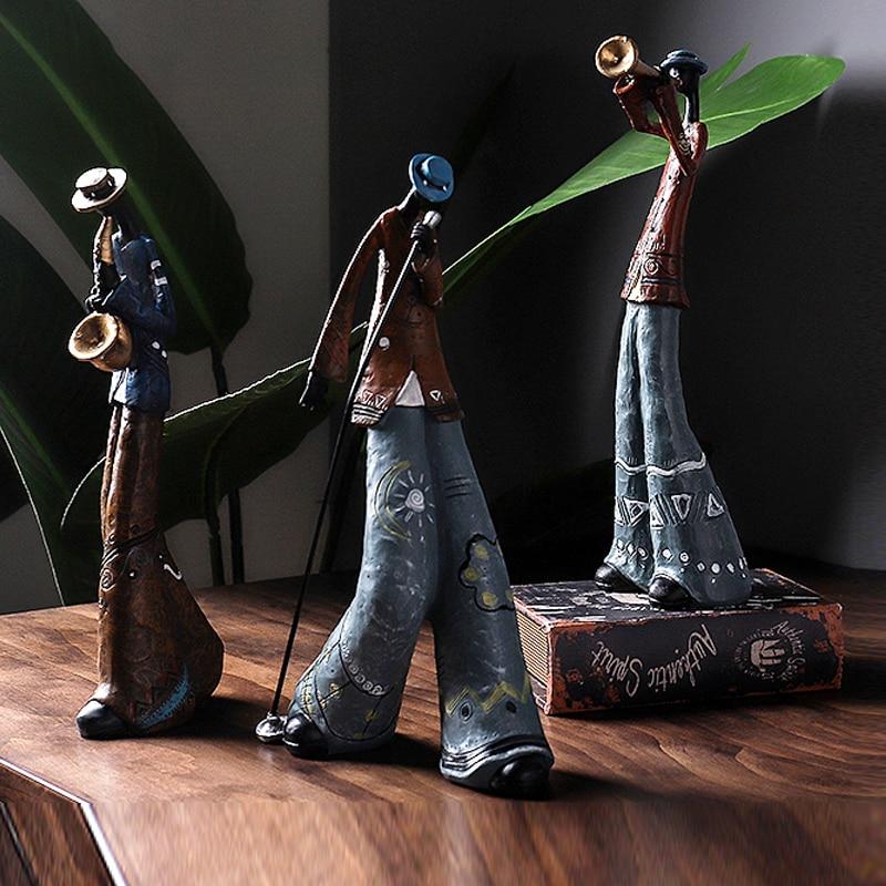 Creative Figure Art Music Rock Band Sculpture Resin Statue Retro Musician Home Decoration Saxophone Guitar Singer Ornament Craft