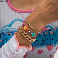 punk iced out rhinestone tennis chain link bracelets for women rainbow colors flowers seed beads charm bracelet new y2k jewelry