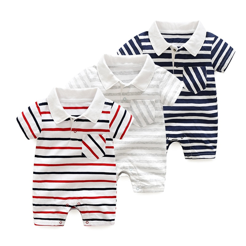 newborn baby clothes 100%cotton knit long sleeve baby girl romper summer toddler boy clothes fashion infant clothing Summer Rompers Newborn Baby Boy Clothes Short Sleeve Outwear Infant Baby Body Cotton Baby Clothing Romper