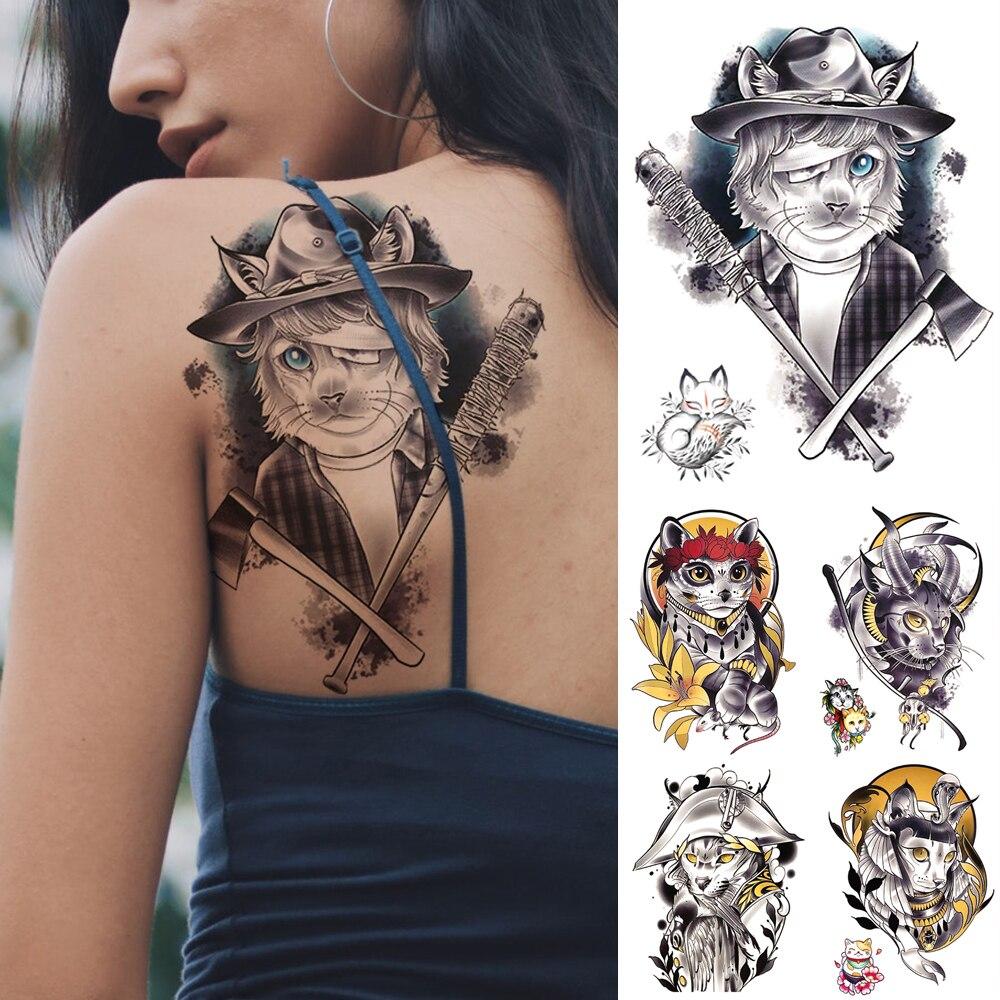 Tatuaje temporal a prueba de agua pegatina pirata capitán gato Flash tatuajes patrón de la vieja escuela arte corporal brazo Tatuaje falso mujeres hombres