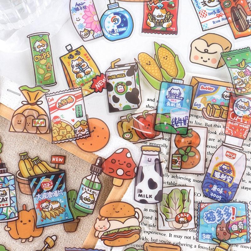 40-pz-pacco-serie-di-negozi-di-alimentari-24-ore-su-24-adesivi-decorativi-in-pvc-scrapbooking-stick-etichetta-diario-cartoleria-album-adesivo