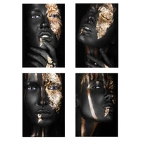 african black and gold woman art canvas paintings girl posters and prints on canvas wall pictures for living room cuadros decor