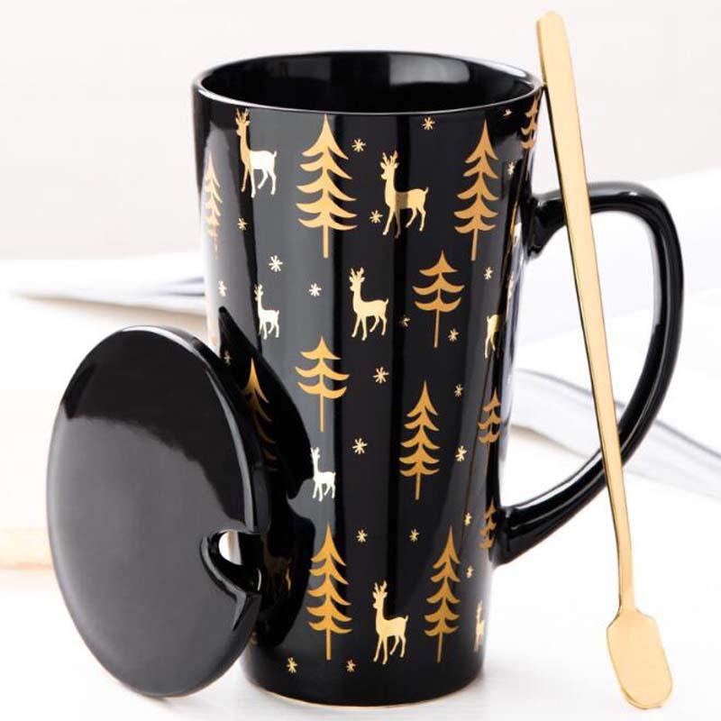 Juego creativo de tazas blancas y negras, taza de pareja con tapa, cuchara, personalidad, zumo de leche, tazas de agua del té, tazas fáciles de llevar, taza de viaje para el hogar