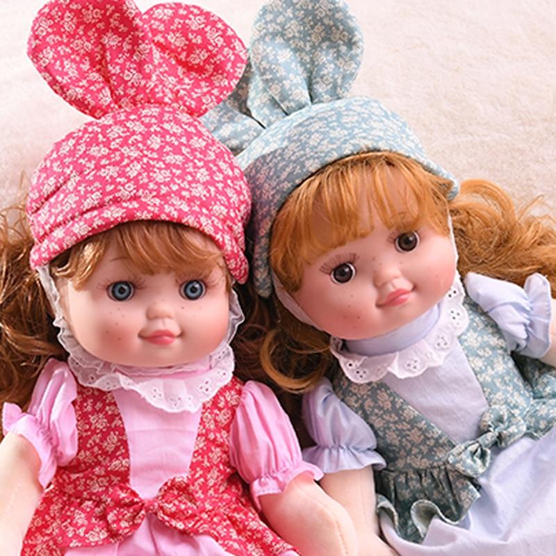 JINGXIN PRINZESSIN 40cm Sommersprossen Mädchen Plüsch Reborn Puppe Silikon Gesicht Plüsch Körper Mädchen Spielzeug Kaninchen Schönheit Kleid Wellung lange haar Puppe