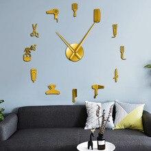 DIY 이발소 거대한 벽시계 거울 효과 이발사 툴킷 장식 Frameless 시계 시계 미용사 이발사 벽 예술