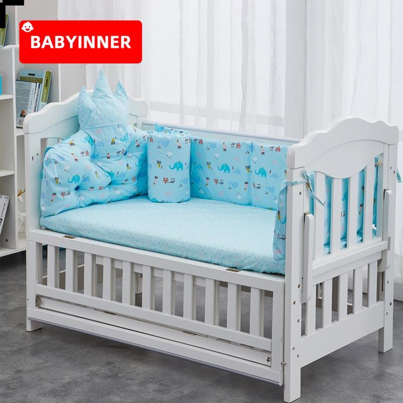 Babyinner Baby Bed Bumper Cotton Crib Fence Cartoon Newborn Cot Protect Washable Anti-collision Bedding 5Pcs/Set Room Decoration