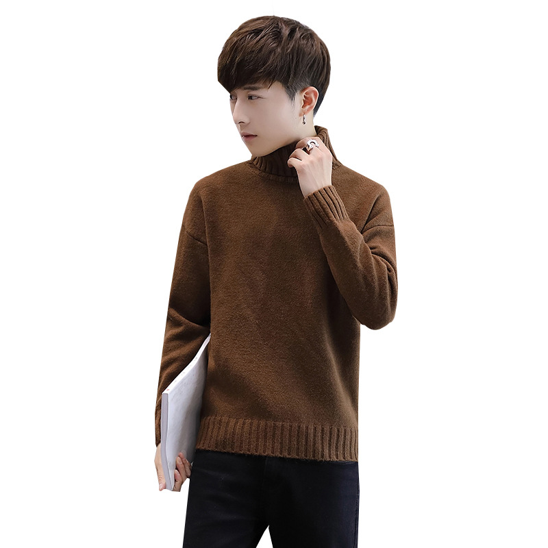 Winter Men's New Turtleneck Sweater Korean Knit Shirt Men's Youth Turtleneck Sweater Shirt Solid Color