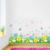 Autocollants muraux en vinyle  fleurs colorees  decoration de salle  beau papillon  Art Mural  decoration de maison  impermeable