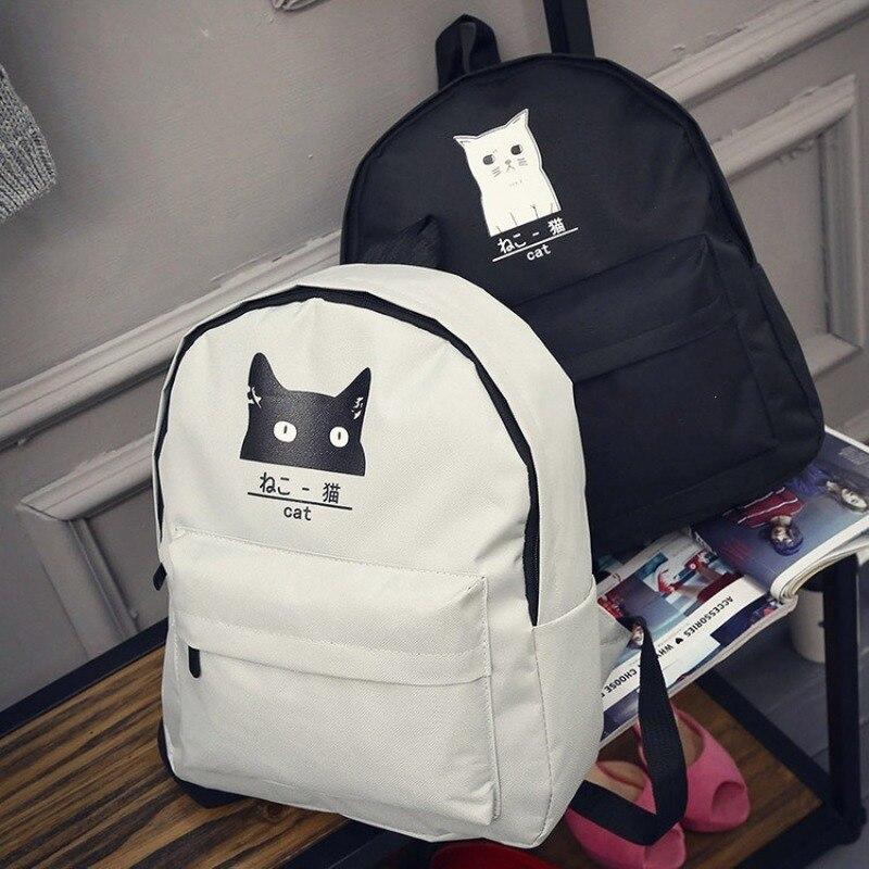 Clearance Sale Women Men Backpack Canvas Printed Cat Backpack Korean Style Students Travel Bag Girl School Bag Laptop Backpack