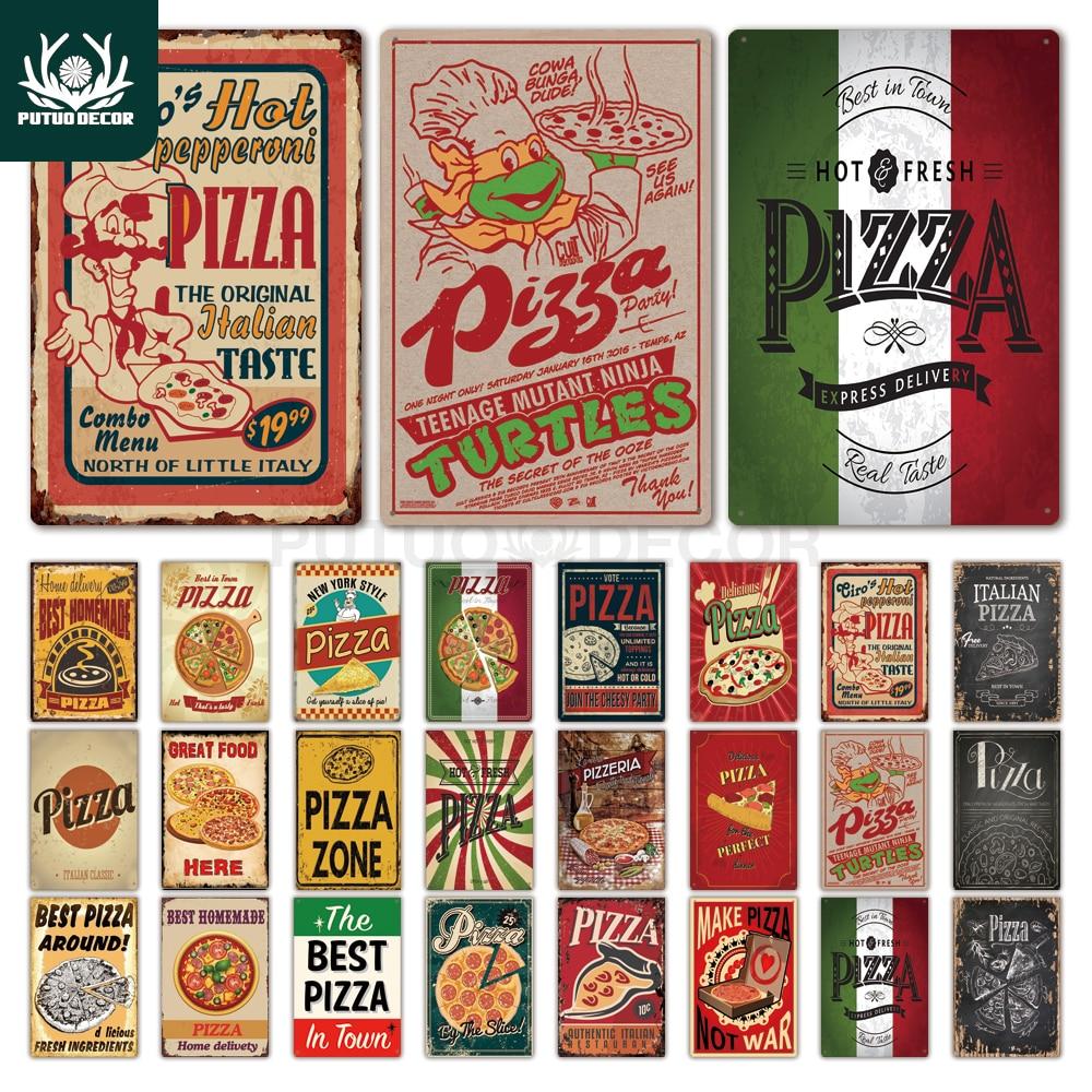 Pizza Metal Sign Vintage Tin Sign Plaque Vintage Retro Wall Decor for Cafe Bistro Restaurant Pizza Zone