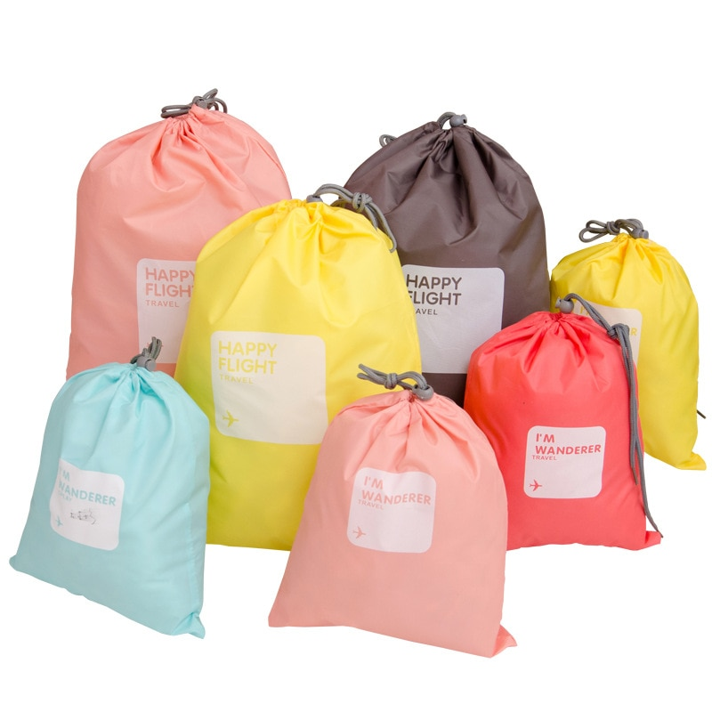 4pcs/lot Set Drawstring Travel Accessories Men and Women Clothes Classified Organizers Packing Bags Shoes Luggage Bag