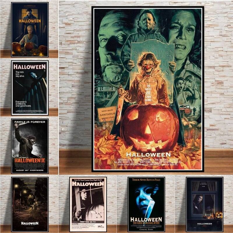 New Halloween Michael Myers Horror Movie Characters Gift Poster Prints Painting Art Canvas Wall Pictures Living Room Home Decor