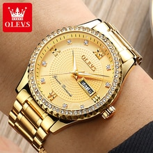 OLEVS Luxury Diamond Men's Watches Gold Stainless Steel Bling Man Watch Casual Business Quartz Wrist