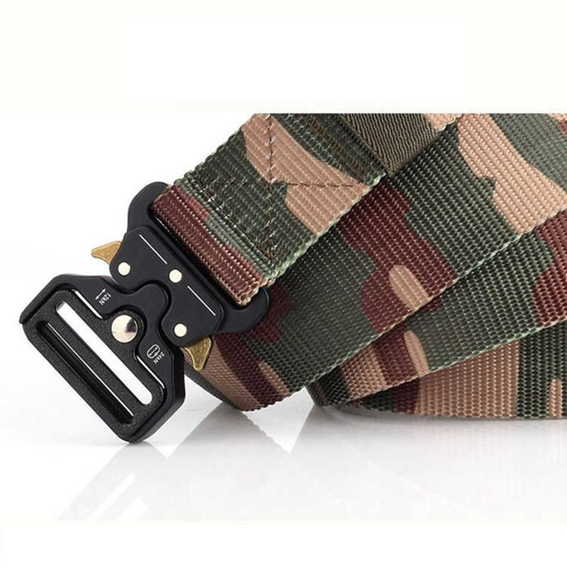Cinturones tácticos de camuflaje para hombre, cinturón táctico militar de alta resistencia ajustable, hebilla metálica, cinturón de nailon, accesorios de caza